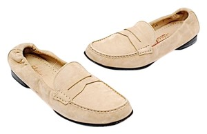 Salvatore Ferragamo Sport Tan Nubuck Barocco Light Tan Flats