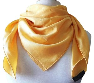 Louis Vuitton LOUIS VUITTON Scarf SILK Canary Yellow Monogram LV Shawl