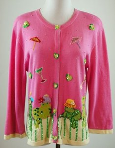 Jack B Quick Cardigan Margarita Frogs Embellished Sweater