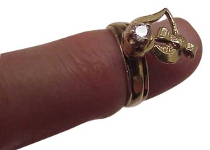 Estate Vintage 14k Yellow Gold Diamond Ring with Rotating Heart, 1950s
