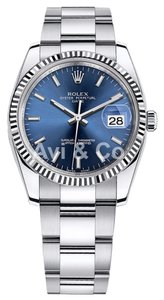 Rolex Rolex Oyster Perpetual Date 34 Steel & White Gold Watch Blue Dial 115234