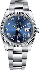 Rolex Rolex Datejust 36 Steel & White Gold Oyster Bracelet Watch Blue Roman Dial 116234
