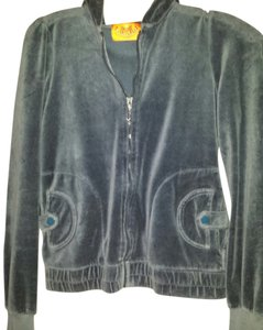 Juicy Couture Blue/grey Jacket Side Pockets Snap Very Comfortable Sweatshirt
