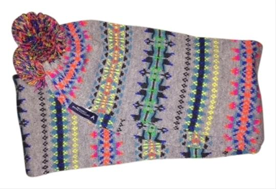 American Eagle Outfitters American Eagle Outfitters Grey Knit Scarf with Multi color print OSFA