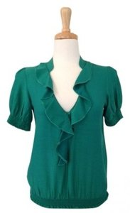 Anthropologie Sanctuary Clothing - Sammy Blouse\\\\\\\\r\\\\\\\\nstyle # 6502-t25\\\\\\\\r\\\\\\\\nruffle Front Smocked Sleeves And Top Green