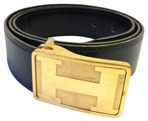 Hermès Hermes #5960 RARE Gold polished and Matte plate H Belt Size 100 leather Reversible Belt