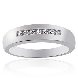 Avital & Co Jewelry 0.20 Carat Mens Round Cut Diamond Wedding Band 14k White Gold