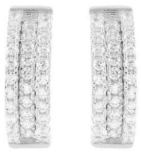 Real 925 Silver Hoops Earrings Mens Ladies White Finish Simulated Diamond Row
