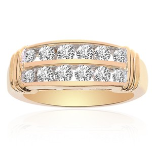 Avital & Co Jewelry 1.00 Carat Round Cut Brilliant Diamond Wedding Band 14k Yellow Gold