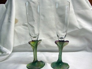 Daum Nancy Hand Made Crystal Champagne Flutes
