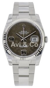 Rolex Rolex Datejust 36 Steel & White Gold Watch Chocolate Floral Motif Dial 116234