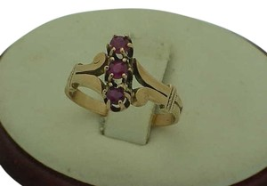 Other Victorian 12K Gold Antique 3 Genuine Ruby Ring, 1800s