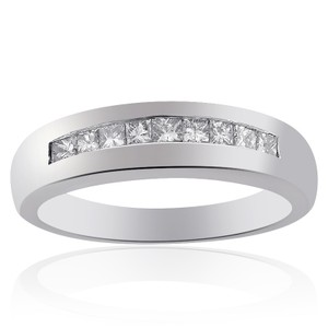 Avital & Co Jewelry 0.75 Carat Mens Princess Cut Diamond Wedding Band 14k White Gold