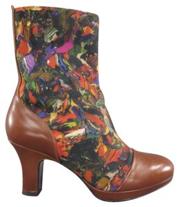 Dries van Noten Printed Rare Canvas Shortboot Captoe Boots