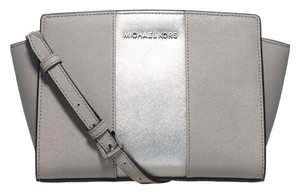 Michael Kors Selma Striped Saffiano Leather Crossbody / Pearl Grey / Silver Messenger Bag