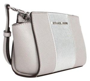MICHAEL Michael Kors Selma Striped Saffiano Leather Crossbody / Pearl Grey/Silver Messenger Bag