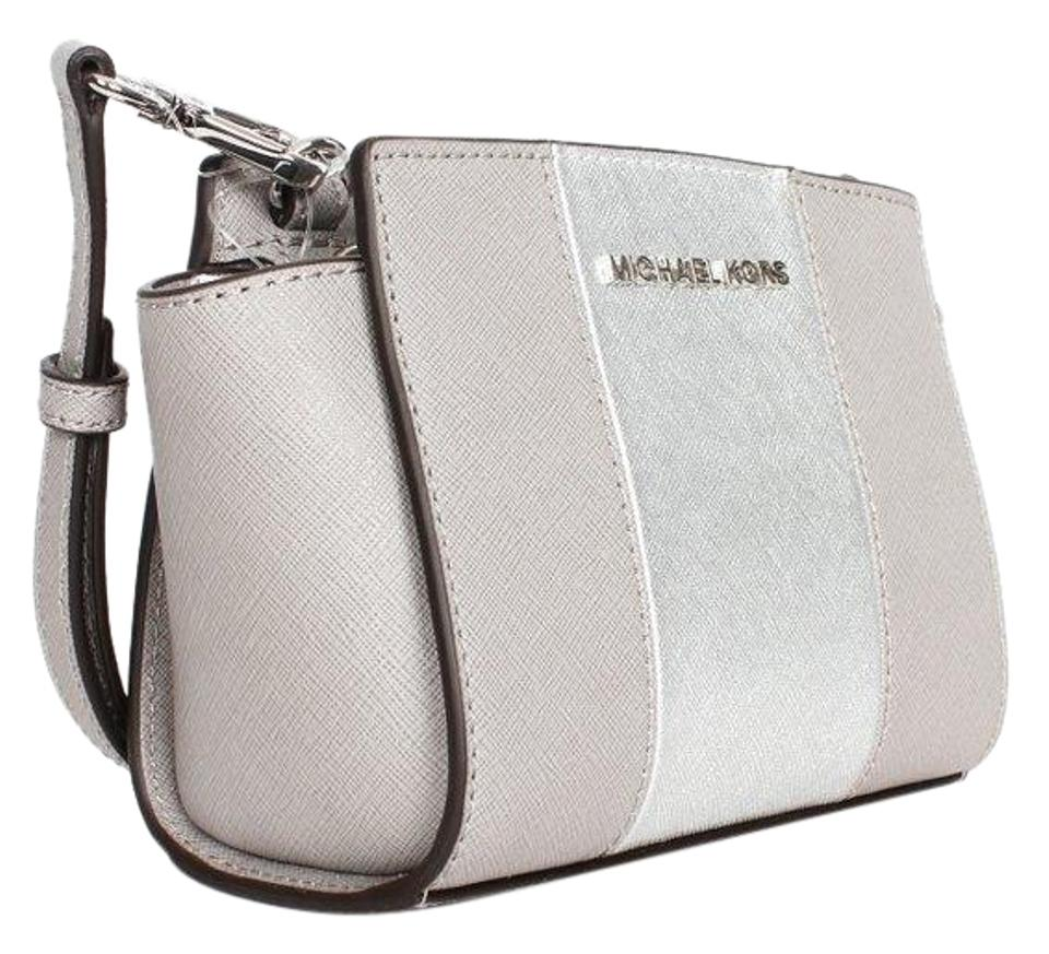 04d07803ee59 MICHAEL Michael Kors Selma Striped Saffiano Leather Crossbody / Pearl Grey/Silver  Messenger Bag Image ...