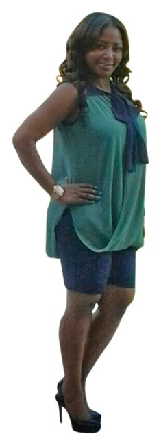 Fashionette Style Boutique Top Green & Navy