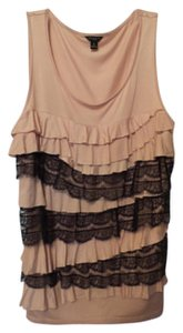 Ann Taylor Mixed Fabric Sleeveless Top Pale peachy-pink and black