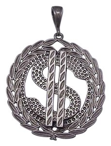 Estate Vintage Huge CASH and DOLLAR Sterling Silver Money Sign Mens Pendant, 1930s