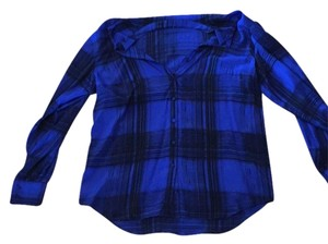 Gemma Button Down Shirt Cobalt/black