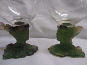 Two Daum Nancy Crystal Goblets Hand Made
