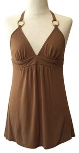 Trina Turk Gold Hardware Brown Halter Top