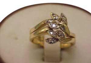Estate Vintage 14K Yellow Gold Eight Snake Head Ring w/ Diamonds,1950s