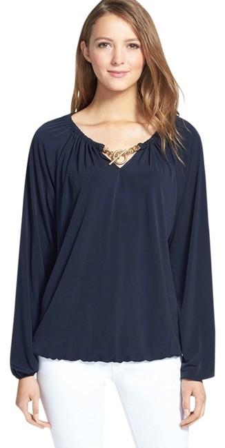 Preload https://item4.tradesy.com/images/michael-kors-gold-tone-toggle-peasant-blouse-size-petite-6-s-1471508-0-1.jpg?width=400&height=650