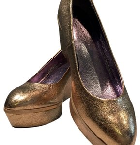 Anthropologie Gold Wedges
