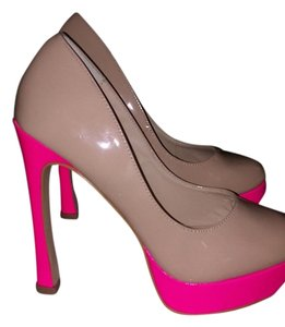 Mixx Shuz light beige with hot pink trim Platforms