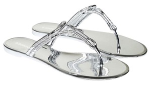 BCBGMAXAZRIA Metallic Chrome Bcbg Summer Silver Sandals