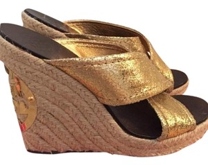 Tory Burch Gold and brown Wedges