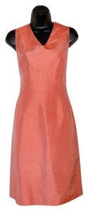 Talbots Coral V-neck Sleeveless Lined Silk Dress