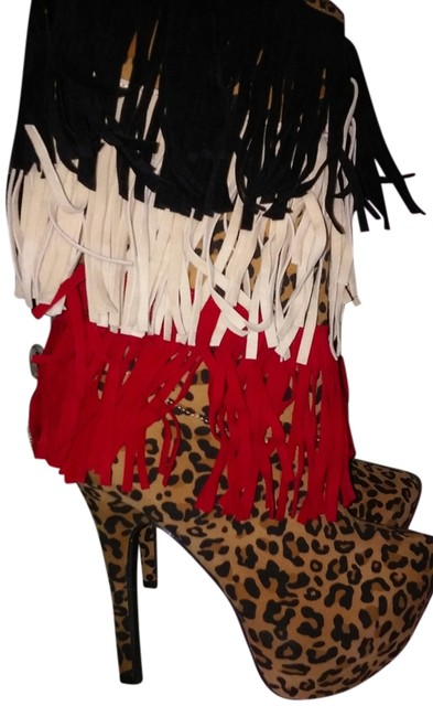 Item - Leopard Multi Colored Fringe Boots/Booties Size US 7.5