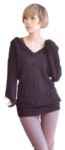 One Teaspoon V-neck Polka Dot Chunky Cable Knit Jumper Sweater