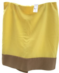 New York & Company Skirt Buttercream Yellow and Tan