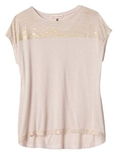 Rebecca Taylor Foil Sleeveless Metallic Modal Top White Gold Stripe