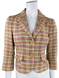 Etro Plaid Synched Floral Summer Yellow Jacket