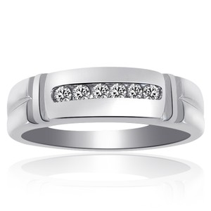 Avital & Co Jewelry 0.25 Carat Mens Round Cut Diamond Wedding Band 14k White Gold