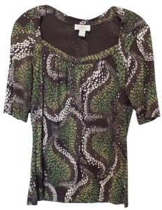 Ann Taylor LOFT Lightweight Knit Square Neck Small Top Brown, green and off-white