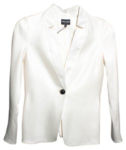 Giorgio Armani Satin One Button Ivory Blazer