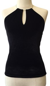 Necessary Objects Velvet Vintage Necklace V-neck Black Halter Top