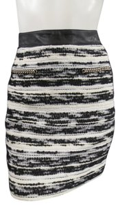 Proenza Schouler Tweed Marled Knit Winter Fashion Week Skirt Black