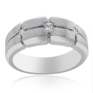 0.35 Carat Princess Cut Diamond Mens Wedding Band 14k White Gold