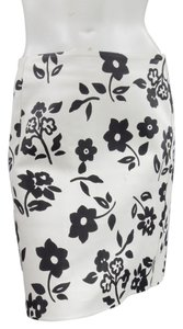 Ralph Lauren Leather Print Fall Summer Floral Skirt Black White