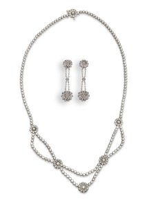 Tiffany & Co. Tiffany & Co. Flower Diamond Necklace And Earring Set Platinum