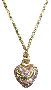 Juicy Couture GOLD PINK HEART CHARM NECKLACE