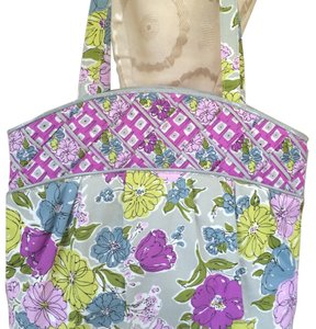 Vera Bradley Tote in Gray Orchid Violet Green-yellow Olive Blue Black White