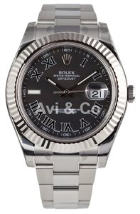 Rolex Rolex Datejust II Steel & White Gold Watch Black Roman Dial 116334